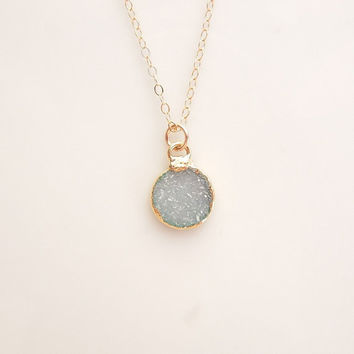 Aqua Blue Druzy Necklace in Gold - One Of A Kind Jewelry
