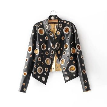 Punk  Leather Jacket -  Black Gold Silver Metal Loops