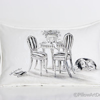 Garden Cafe French Provincial Painting on White Pillow Cover Made in Canada