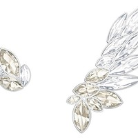 Swarovski | Lake Pierced Earring and Ear Cuff, Gray, Rhodium plating