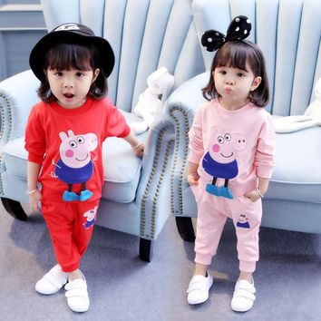 2 Pcs Autumn Children Clothing Sets Cotton Kids Clothes Baby Girl Cartoon Sports Clothes little Pig Red Hoodied Pants For Girls