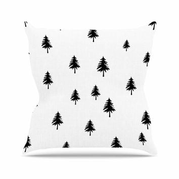 "Suzanne Carter ""Pine Tree"" Black White Outdoor Throw Pillow"