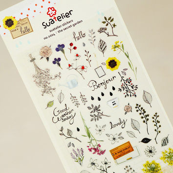 1 x SONIA Secret Garden paper sticker DIY decorative sticker for album scrapbook kawaii stationery diary sticker