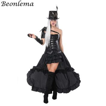 Beonlema Overbust Bustier Leather Steampunk Corset Black Arm Shaper Punk Rave Belt Rivet Korse Dress Cosplay Clothing Long Skirt