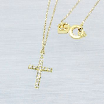 (Made to Order) Yellow Gold Diamdond Cross Necklace