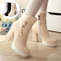White/Beige/Black High Heel Low Boots SP168482