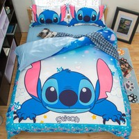 Cool Stitch 3D Printed Bedding Set Cartoon Bedspread Single Twin Full Queen King Size Bedclothes Children's Boy Bedroom Decor BlueAT_93_12