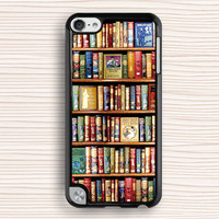 vivid books ipod case,art books ipod 4 case,new design ipod 5 case,bookshelf ipod touch 4 case,bookrack ipod touch 5 case,cool design case,art design case,gift ipod case,present case