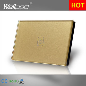 1 Gang Dimmer Smart Home Au Us Led 118*72Mm Wallpad Crystal Gold Crystal Glass Dimmer Touch Screen Wall Switch Shipping