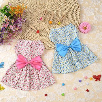 Floral Lady Dress Fashion Pet Dog Clothes Leisure Dresses Shirt Skirt For Small Medium Dogs XS-XL