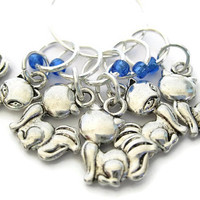 Charmed Stitch Marker Set | Beaded Stitchmarker | Knitting Stitch Marker | Knitting Gift | Fox charm with blue beads | #S007