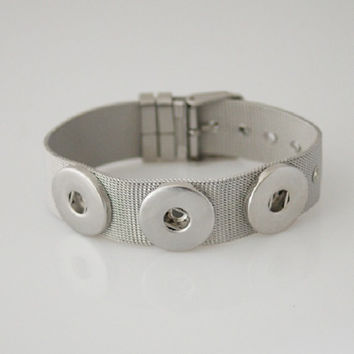 Stainless Steel 3 snap button Noosa style bracelet fits Ginger snap & other snap charms