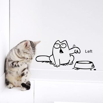 Left Right newest DIY FUNNY cat need food home decor wall sticker lovely kitchen pet store car decals for kids room