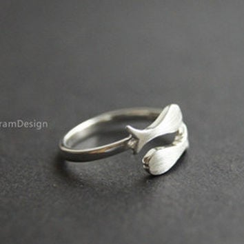 Ring--925 Sterling Silver fish ring,adjustable 2 fish ring