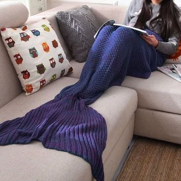 handmade knitted sofa bedding mermaid tail blanket home gift 2