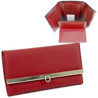 Plain Leather Like Fold Over Flap With Flip Clasp Checkbook Wallet Faux Red
