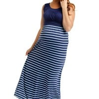 Navy Blue Mint Striped Bottom Maternity Maxi Dress