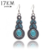 17KM Brand design hot sales fashion Personalized Cross Big Blue Stone Silver Color  long drop earrings jewelry for woman