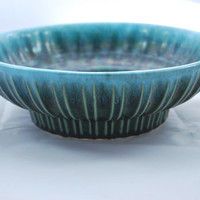 Hull Pottery Green Blue Drip Glaze Planter  , Pattern A 12 , Hull USA Old Pottery