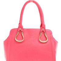 Fuchsia Gold Embellished Faux Leather Bag | $13.99 | Cheap Trendy Top Handle Handbag Chic Discount F