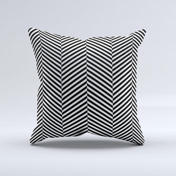 Black and White Opposite Stripes ink-Fuzed Decorative Throw Pillow