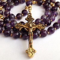 Amethyst Rosary, Catholic Rosary, Amethyst Beads, Miraculous Medal, Gemstone Rosary, Catholic Prayer Beads, Queen of Heaven
