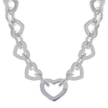 Designer Sterling Silver Interlocking Heart Toggle Necklace