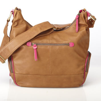 Soft Tan Leather Hobo Diaper Bag with Hot Pink Trim