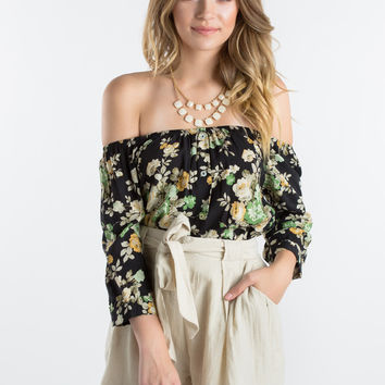 Kenley Black Floral Off The Shoulder Crop Top