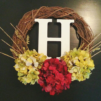 White Monogram Wreath, Grapevine Wreath, Fall Wreath, Custom Wreath,Hydrangea Wreath