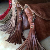 Cowhide leather clutch, Caramel Tan leather purse, Multi Pockets Leather Wallet, leather fringe tassel, credit card slots, small evening bag