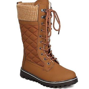 Women's Polar-01 Quilted Tall Mid-Calf Lace-Up Cold Weather Winter Boots