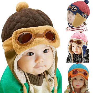 Winter Warm Baby Hats Infant Toddlers Boys Girls Pilot Aviator Warm Caps Soft Earflap Hat Cute Beanies Cap Kids Skullies Hat