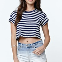 Cropped Stripe Rib Roll Crew T-Shirt