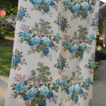 Pair Vintage Bark Cloth Curtains / Drapes / Window Panels Pastoral English Cottage / Water Mill with Aqua Turquoise & Lavender Cabbage Roses