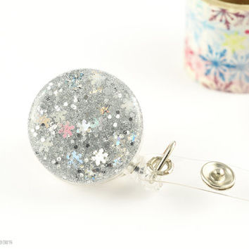 Snowflake Glitter Badge Holder - Super Sparkly ID Holder - Work Bling - Retractable Badge Reel -  Silver Snow - Winter - Made in Vermont
