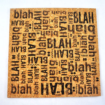 BLah blah BLAH Quirky Corkies Cork board, wall decor, for Home, Office, Dorm, Bedroom, Kids Room wall art
