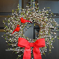 Christmas wreath silver pip berries berry front door wreaths floral gift red birds cardinals Holidays wreaths