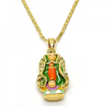 Gold Layered 04.63.1316.18.GT Fancy Necklace, Guadalupe Design, Multicolor Enamel Finish, Gold Tone