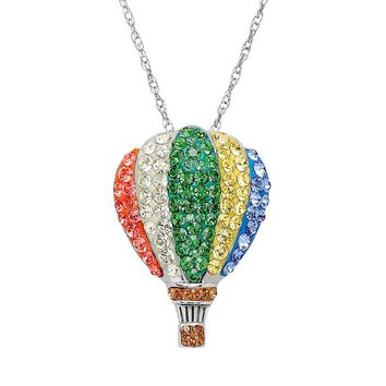 Artistique Crystal Sterling Silver Hot Air Balloon Pendant Necklace - Made with Swarovski Elements (Yellow)