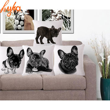Cute Pug Pet Cotton Linen Cushion Cover Home Decorative Throw Pillow Almofadas Decorate Pillow Sofa Chair Cushion