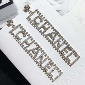 925 Silver Needle Fashionable Women Girls Chic Letter Delicate Diamond Pendant Earrings Accessories Jewelry