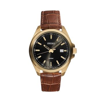 Seiko Men's Leather Watch - SUR078 (Brown)