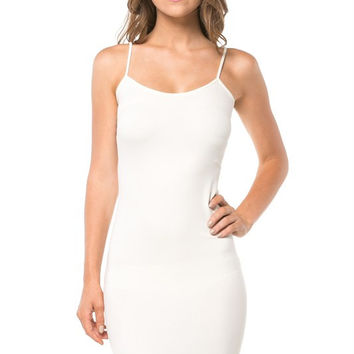 Seamless extra long layering tank - white