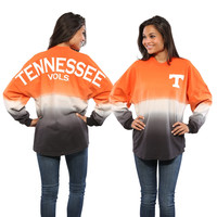 Tennessee Volunteers Women's Tenn Orange Ombre Long Sleeve Dip-Dyed Spirit Jersey