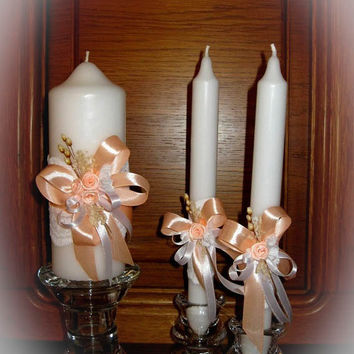 Handmade Wedding Unity Candles Vintage Style Decoration, Peach Candles, Pillar Candle, Taper Candles, Personalized Candles, Unity Candle