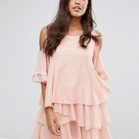 PrettyLittleThing Cold Shoulder Ruffle Tiered Dress at asos.com