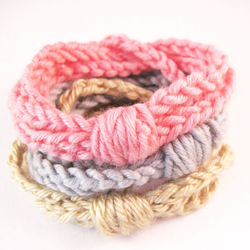 FOR FALL Crochet Chain Cuff Bracelets - Set of 3 - Pink, Grey and Sand