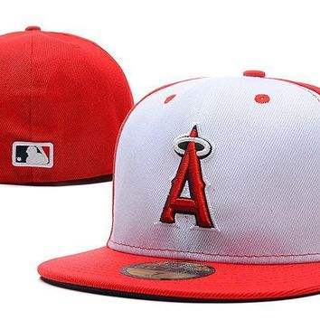 PEAPON Los Angeles Angels of Anaheim New Era 59FIFTY MLB Cap Red-White