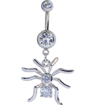 Lovely spider zircon belly button ring antiallergic Navel Belly Ring-0428-Gifts box